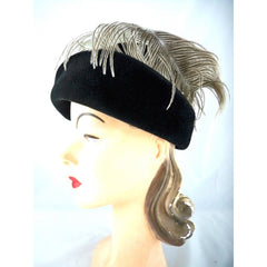 Stunning Vintage Ladies Black Hat w WHite Ostrich Feather Jack McConnell Boutique 1950s - The Best Vintage Clothing  - 3