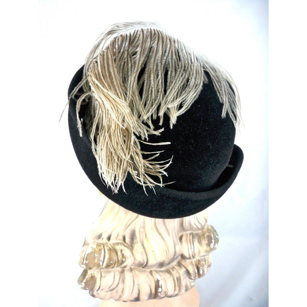 Stunning Vintage Ladies Black Hat w WHite Ostrich Feather Jack McConnell Boutique 1950s - The Best Vintage Clothing  - 4