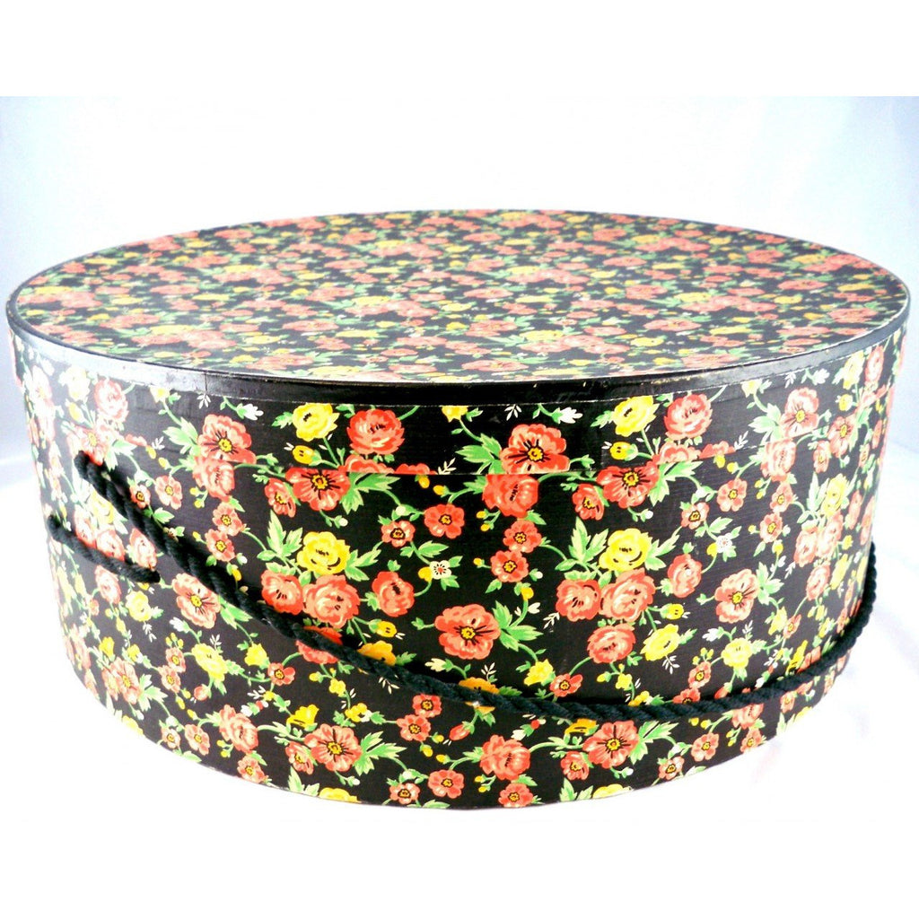 "Vintage Printed Wall Paper Hat Box Huge 1940s 18"" - The Best Vintage Clothing  - 1"