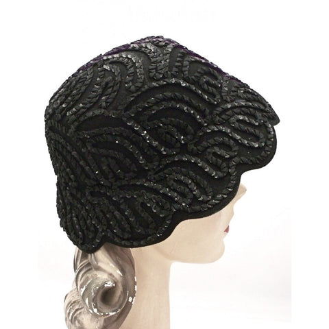 Vintage Black Sequin Soutache Bucket Hat 1950s One Size