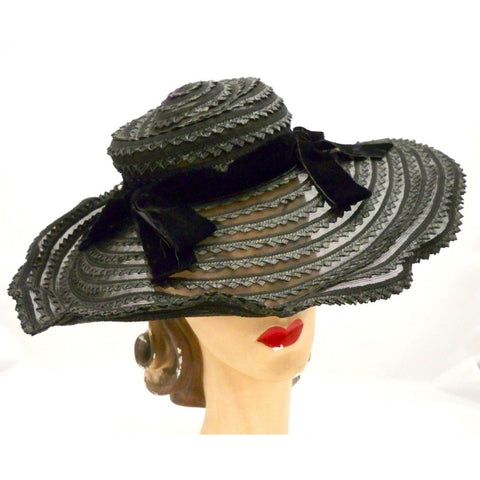 Vintage Picture Hat Black Horsehair Straw Wide Brim 1940s