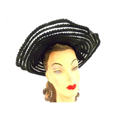 Vintage Picture Hat Black Horsehair Straw Wide Brim 1940s - The Best Vintage Clothing  - 4