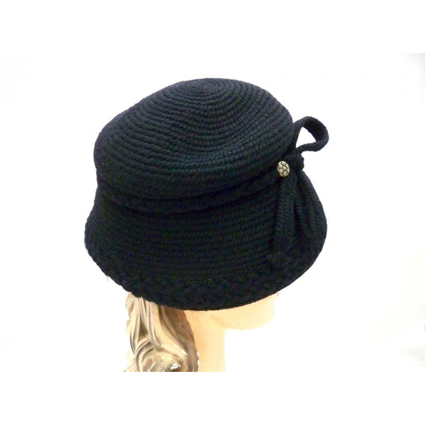 Vintage Hat Black Knit Everitt Bucket Style 1950s One size - The Best Vintage Clothing  - 1