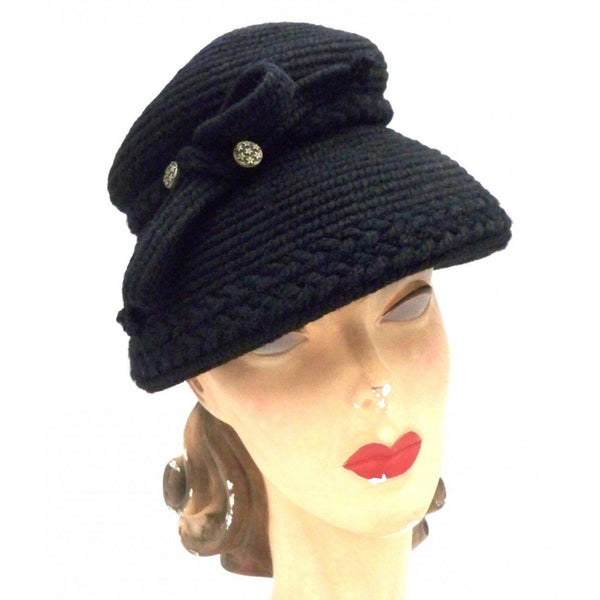 Vintage Hat Black Knit Everitt Bucket Style 1950s One size - The Best Vintage Clothing  - 2
