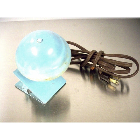 Vintage Aluminum Clip-On Night Light Aqua  1940s