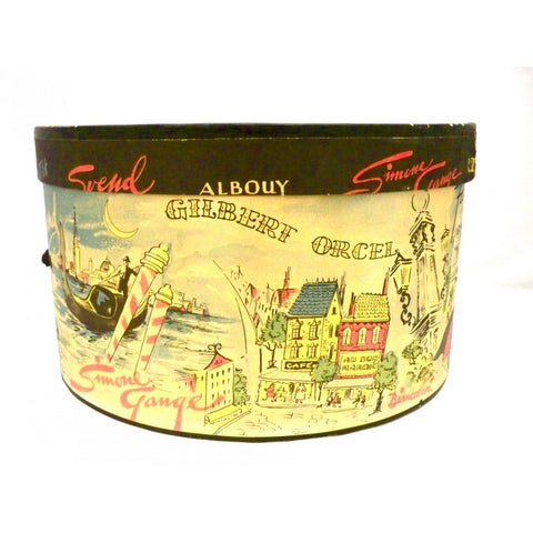 Vintage Printed  Hat Box Jaques Fath 1950s 12""