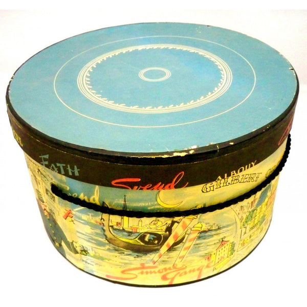 "Vintage Printed  Hat Box Jaques Fath 1950s 12"" - The Best Vintage Clothing  - 2"