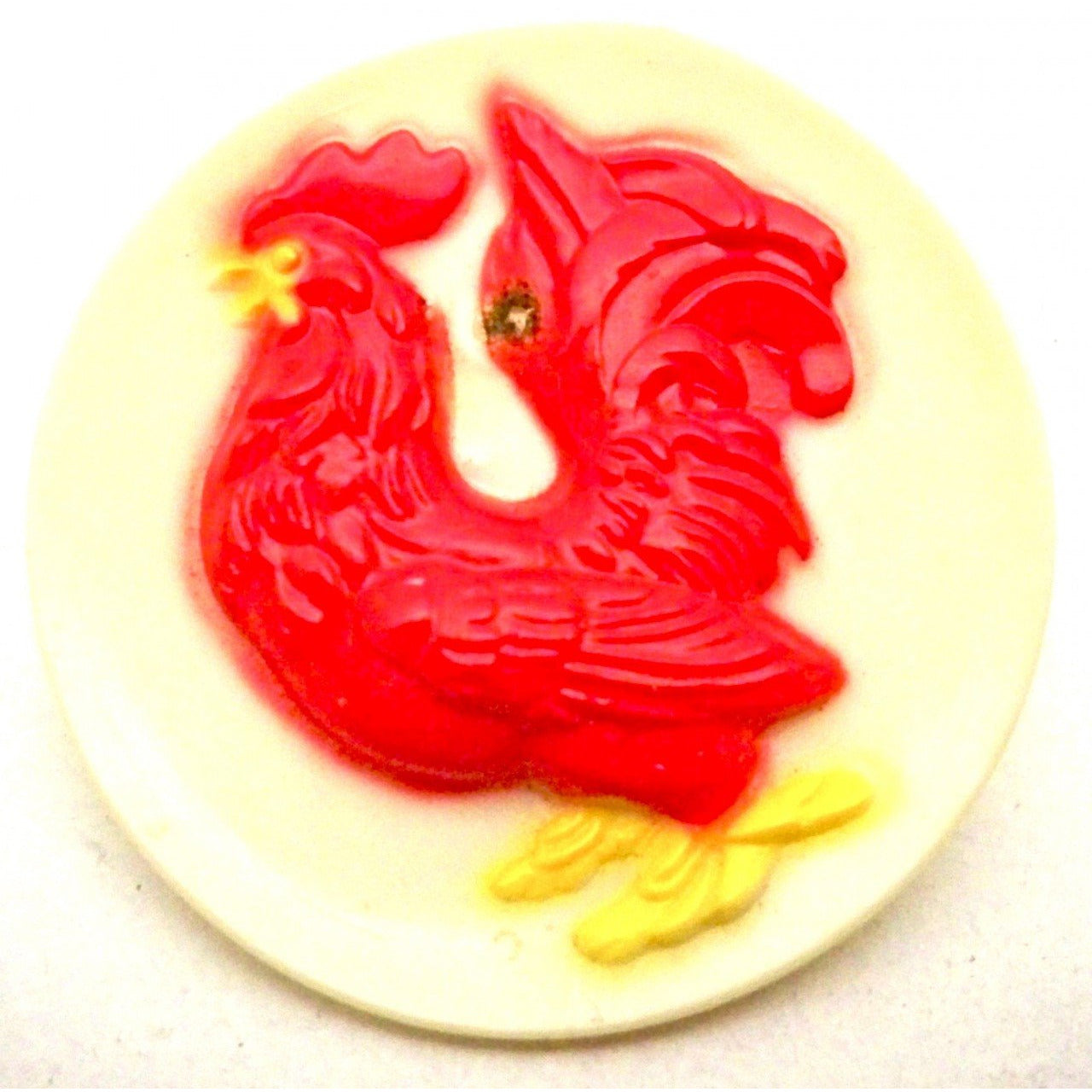 Vintage Plastic Red Rooster Pin 1950s - The Best Vintage Clothing  - 1