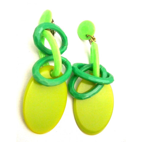 Vintage Greens Plastic Link Drop Earrings Clip Style 1960s