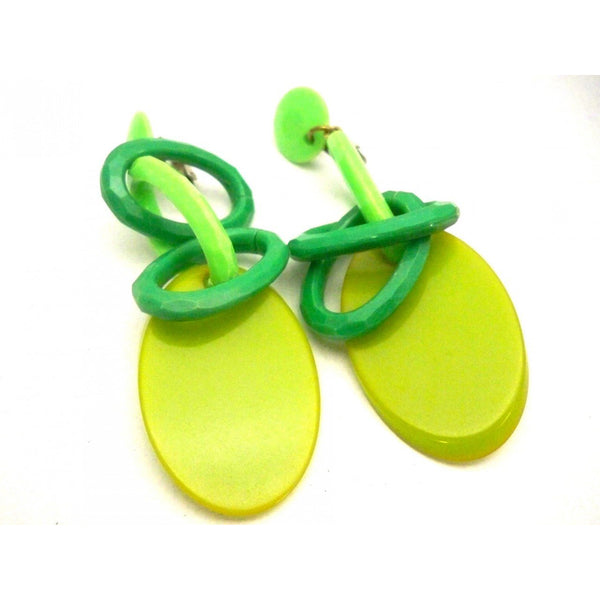 Vintage Greens Plastic Link Drop Earrings Clip Style 1960s - The Best Vintage Clothing  - 2