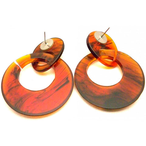 Vintage Tortoiseshell Lucite Earrings Mod Hoops Pierced 1960s