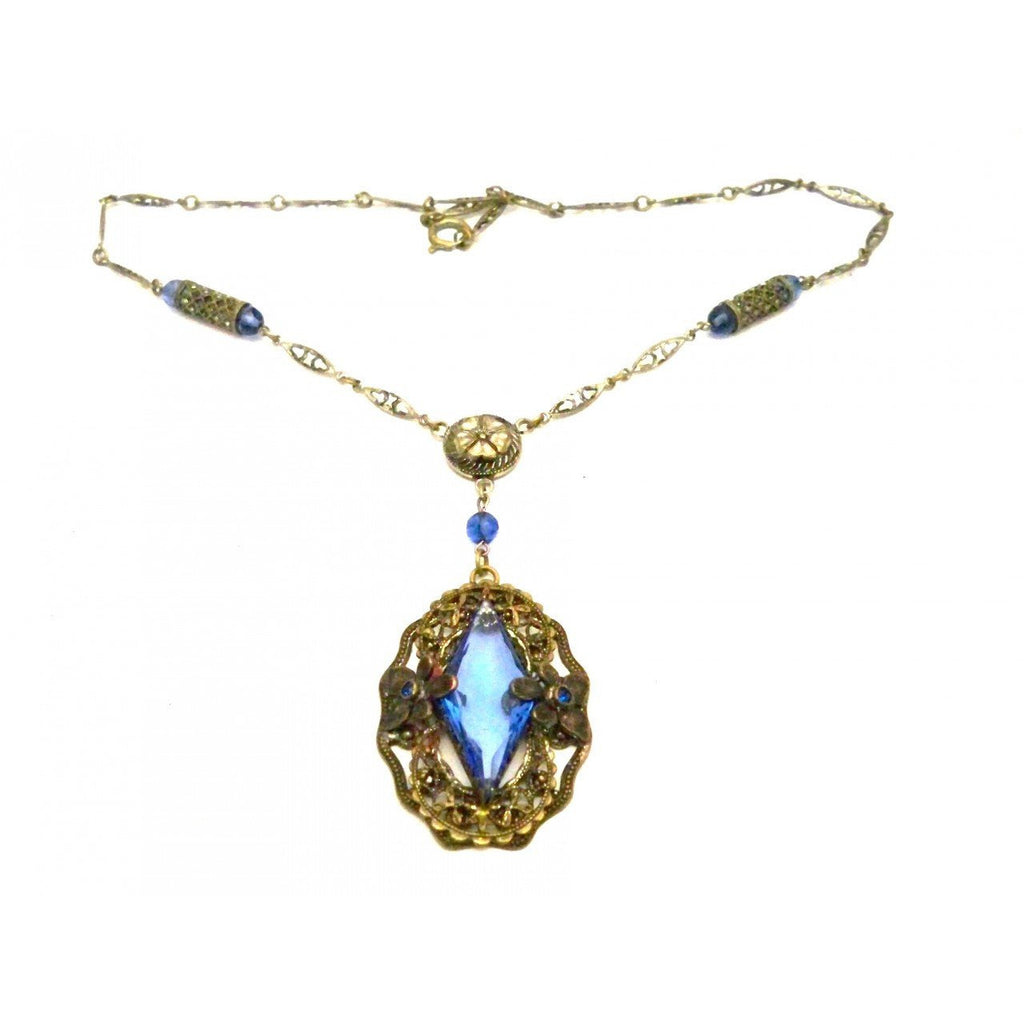 Vintage Necklace Blue Glass Downton Abbey Early 1920s - The Best Vintage Clothing  - 1