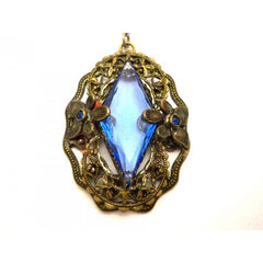 Vintage Necklace Blue Glass Downton Abbey Early 1920s - The Best Vintage Clothing  - 2