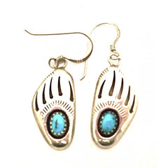 Vintage Pierced Earrings Sterling & Turquoise Bear Claws 1975 - The Best Vintage Clothing  - 3