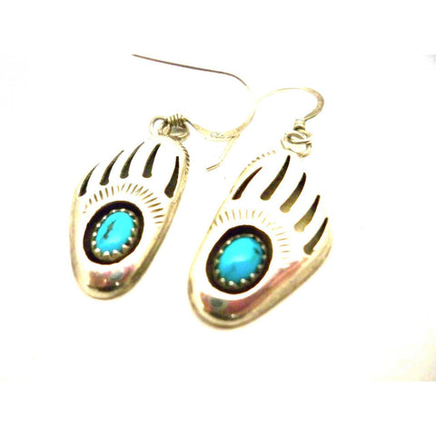 Vintage Pierced Earrings Sterling & Turquoise Bear Claws 1975