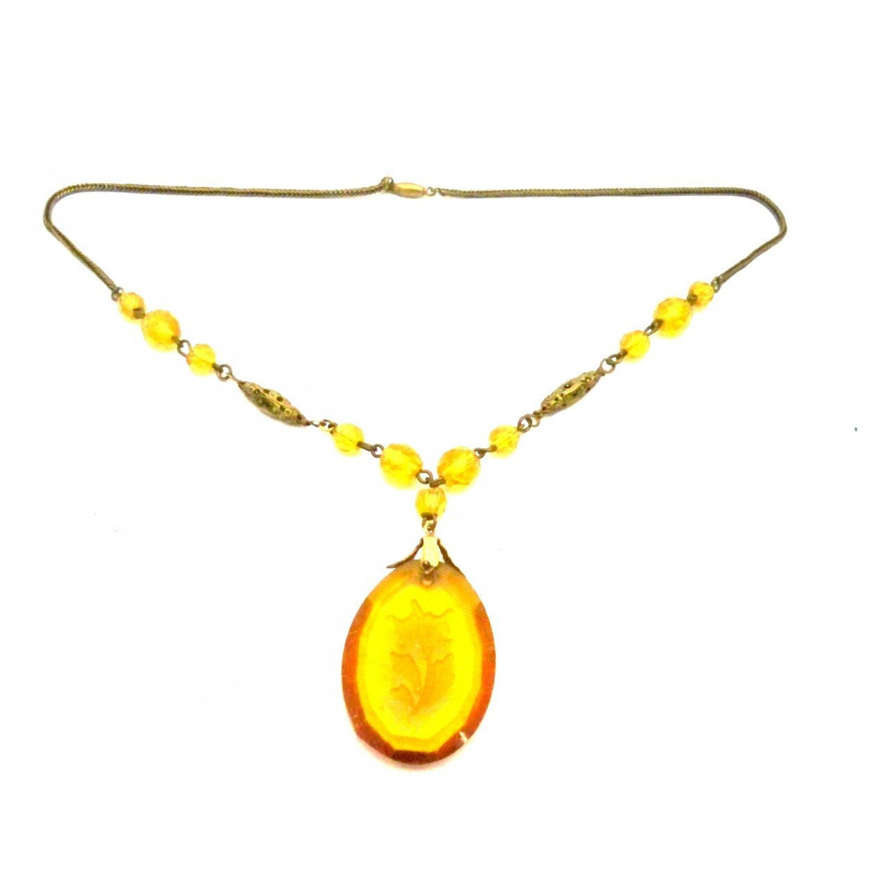 Vintage Amber Glass & Brass Necklace Downton Abbey 1920s Era - The Best Vintage Clothing  - 1