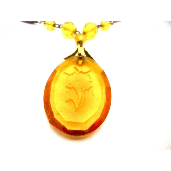 Vintage Amber Glass & Brass Necklace Downton Abbey 1920s Era - The Best Vintage Clothing  - 2