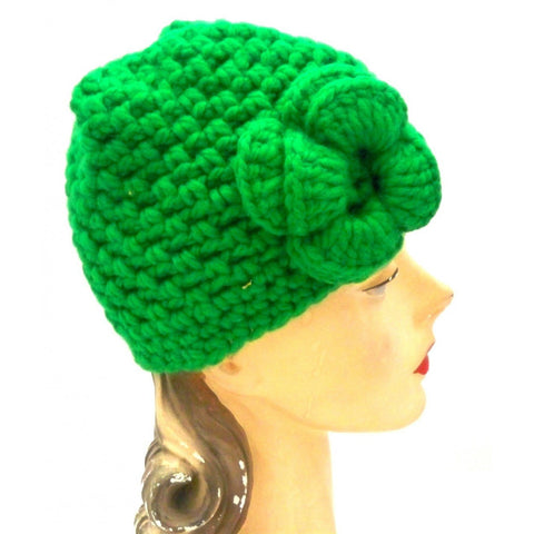Vintage Cloche Hat 1970s Bright Green One Size