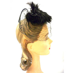 Vintage Ladies Cocktail Hat w/ Standup Feather Center and Veil 1950s - The Best Vintage Clothing  - 2