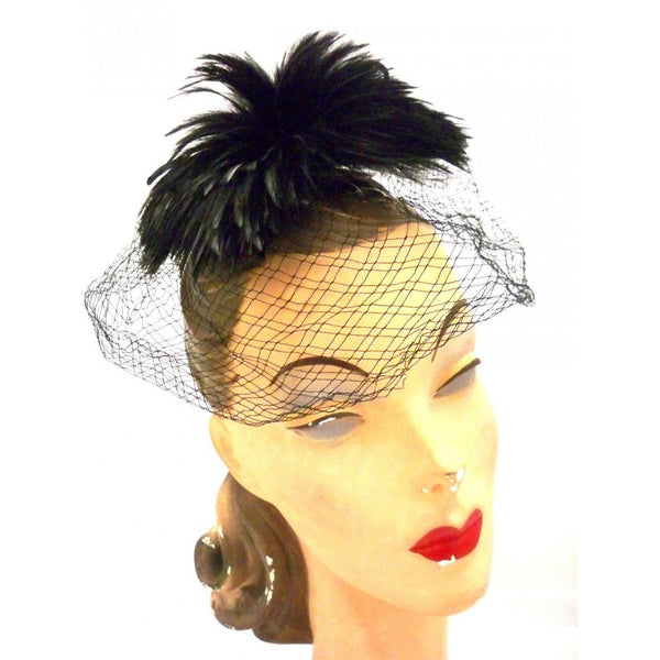 Vintage Ladies Cocktail Hat w/ Standup Feather Center and Veil 1950s - The Best Vintage Clothing  - 1