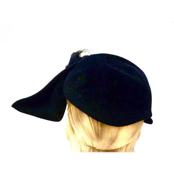 Vintage Ladies Hat Sweeping Feathers Reproduction Rose Valois Paris 1940s - The Best Vintage Clothing  - 3