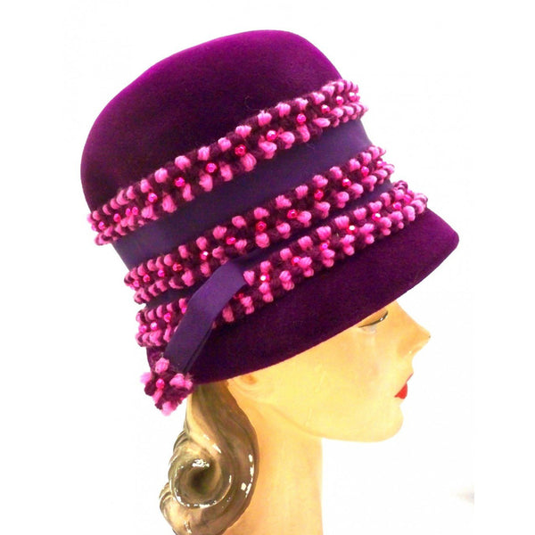 Vintage Purple High Bucket Hat Beads Oleg Cassini 1960s - The Best Vintage Clothing  - 2