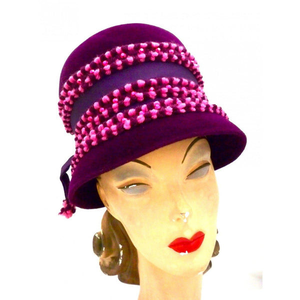 Vintage Purple High Bucket Hat Beads Oleg Cassini 1960s - The Best Vintage Clothing  - 1