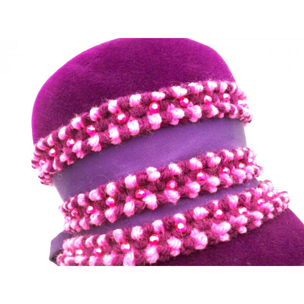 Vintage Purple High Bucket Hat Beads Oleg Cassini 1960s - The Best Vintage Clothing  - 3