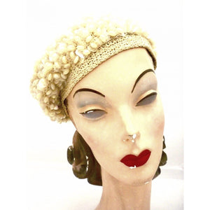 Vintage Ladies Ivory Knit Beret  Hat Unique Aurora Borealis Beads 1950s - The Best Vintage Clothing  - 1