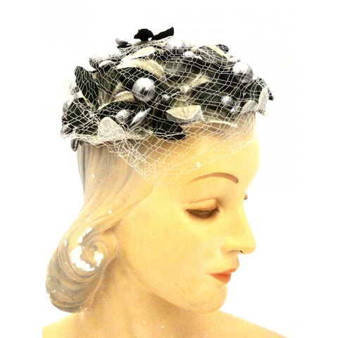Vintage Ladies Cocktail Hat  Silver Berries w/Tulle Mr. John Caprice 1950s