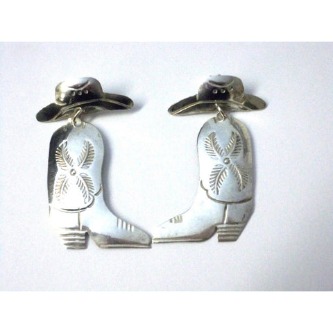 Vintage Navajo E. Spencer Sterling Silver Cowboy Boot Pierced Earrings