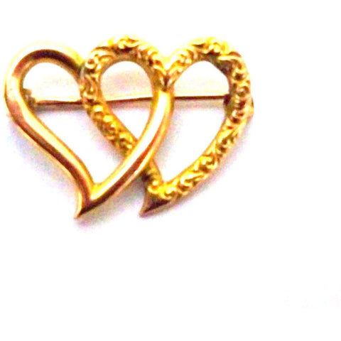 Antique Victorian Double Heart Brooch 10K