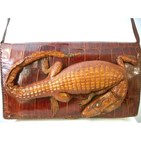 Vintage Alligator Purse Handbag Organizer  1950s