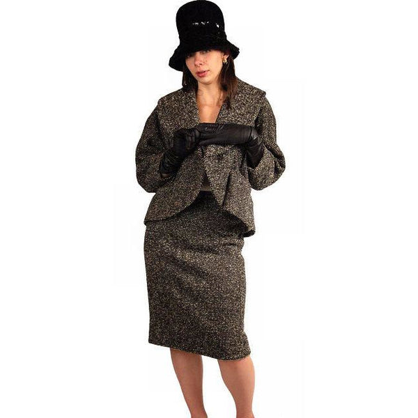 Vintage Tweed Suit Pencil Skirt 1940'S Salt & Pepper Wool/ Mohair Wilma Small - The Best Vintage Clothing  - 1