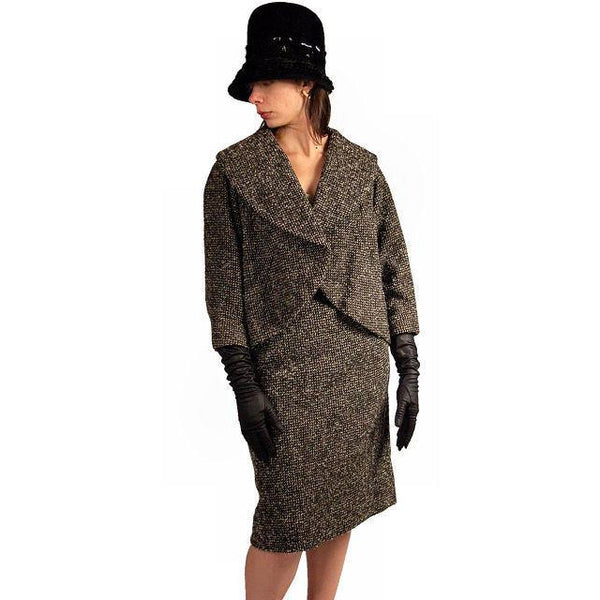 Vintage Tweed Suit Pencil Skirt 1940'S Salt & Pepper Wool/ Mohair Wilma Small - The Best Vintage Clothing  - 2
