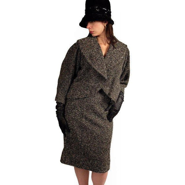 Vintage Tweed Suit Pencil Skirt 1940'S Salt & Pepper Wool/ Mohair Wilma Small - The Best Vintage Clothing  - 4