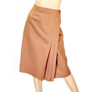 "Vintage Skirt  Camel Wool Wrap Ruth Brooks  1980S 29"" Waist - The Best Vintage Clothing  - 1"