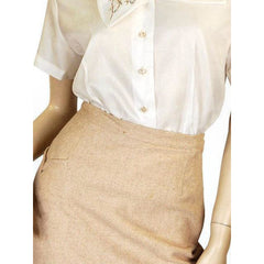 Vintage Pencil Skirt Camel Colored Heathered Cashmere 1940S Sz 2-4 - The Best Vintage Clothing  - 5