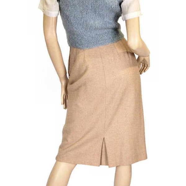 Vintage Pencil Skirt Camel Colored Heathered Cashmere 1940S Sz 2-4 - The Best Vintage Clothing  - 3