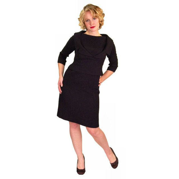 Vintage Black Wool Boucle Cocktail Dress Halifax 1950S 36-30-38 - The Best Vintage Clothing  - 4