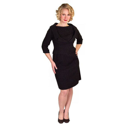 Vintage Black Wool Boucle Cocktail Dress Halifax 1950S 36-30-38