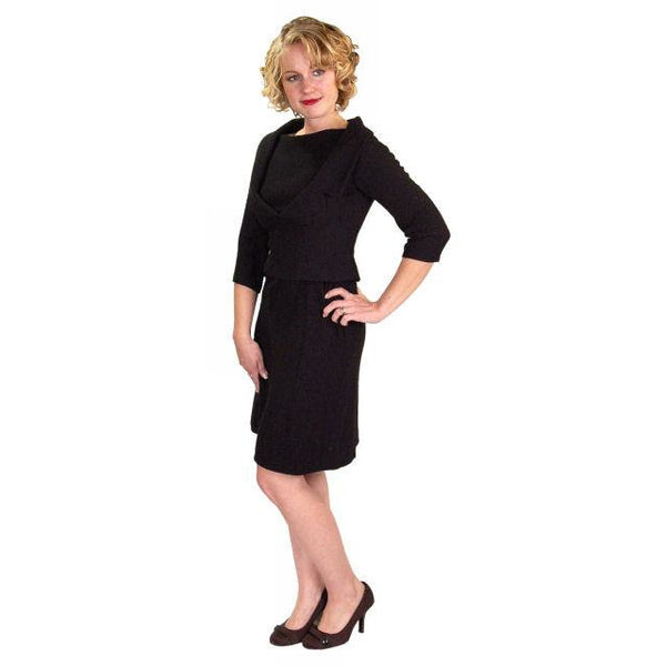 Vintage Black Wool Boucle Cocktail Dress Halifax 1950S 36-30-38 - The Best Vintage Clothing  - 3