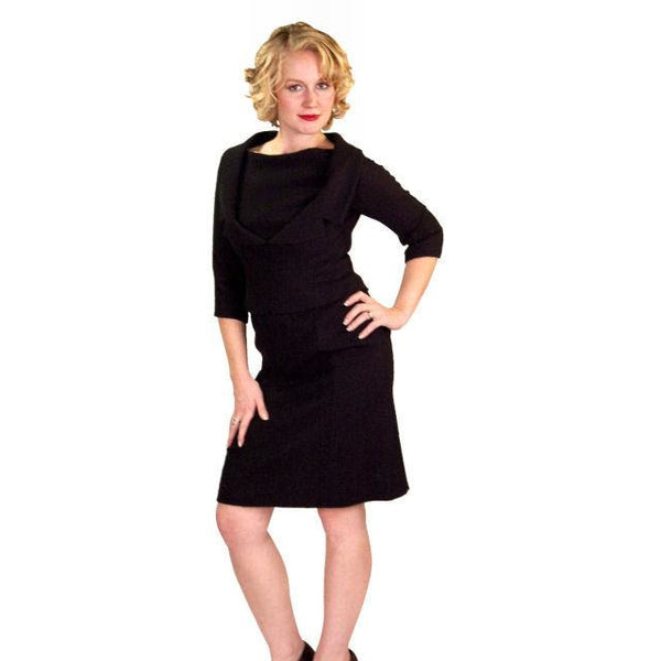 Vintage Black Wool Boucle Cocktail Dress Halifax 1950S 36-30-38 - The Best Vintage Clothing  - 5
