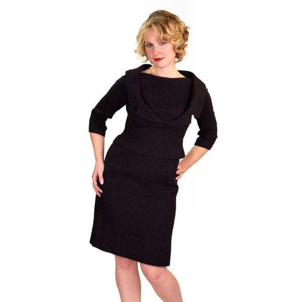 Vintage Black Wool Boucle Cocktail Dress Halifax 1950S 36-30-38 - The Best Vintage Clothing  - 2