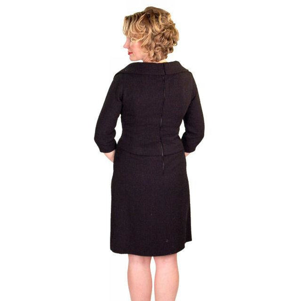 Vintage Black Wool Boucle Cocktail Dress Halifax 1950S 36-30-38 - The Best Vintage Clothing  - 7