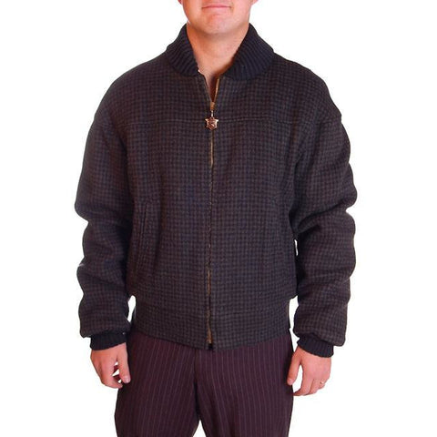 Vintage Mens Zip Jacket Cresco Wool  Houndstooth 1950S Sz 40
