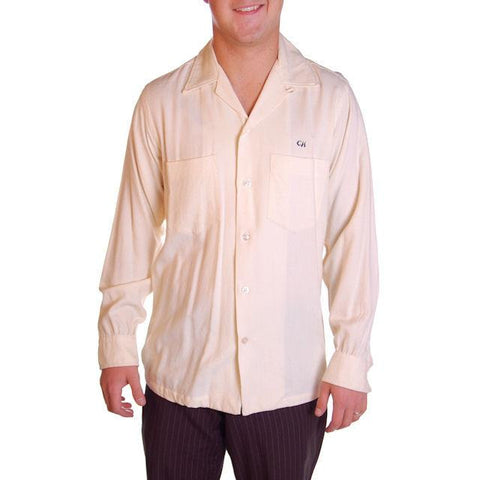 Vintage Mens Rupert Rhodes Wool Cream Shirt 1950S 38-40 Chest