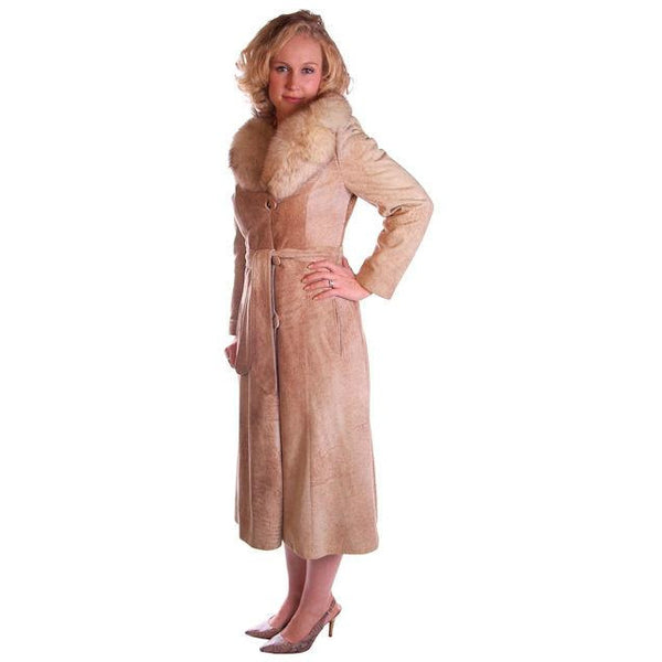 Vintage Mottled Beige Suede Trench Coat Fox Collar 1970S Medium - The Best Vintage Clothing  - 3