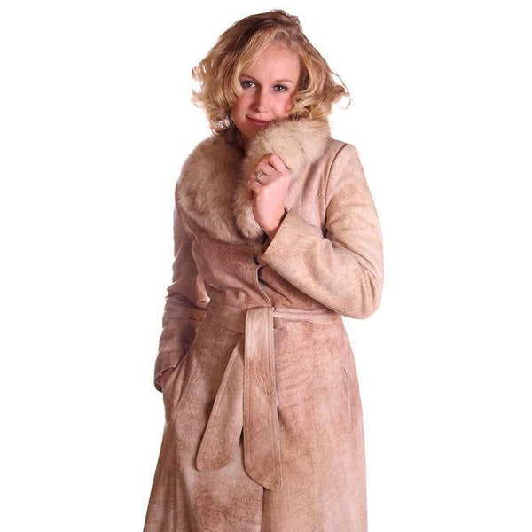 Vintage Mottled Beige Suede Trench Coat Fox Collar 1970S Medium - The Best Vintage Clothing  - 5