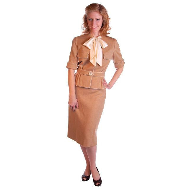 Vintage  Camel Wool Knit Suit 1950S 36-24-36 Ben Gershel By Robert Knox - The Best Vintage Clothing  - 1